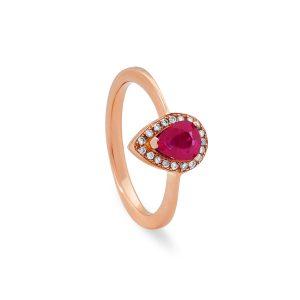 Anillo de Oro Rosa de 1ª Ley con rubí central talla pera rodeado de diamantes talla brillante (2)