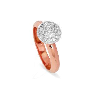 Anillo de Oro Rosa y Oro Blanco de 1ª Ley con un motivo circular cuajado de brillantes (3)