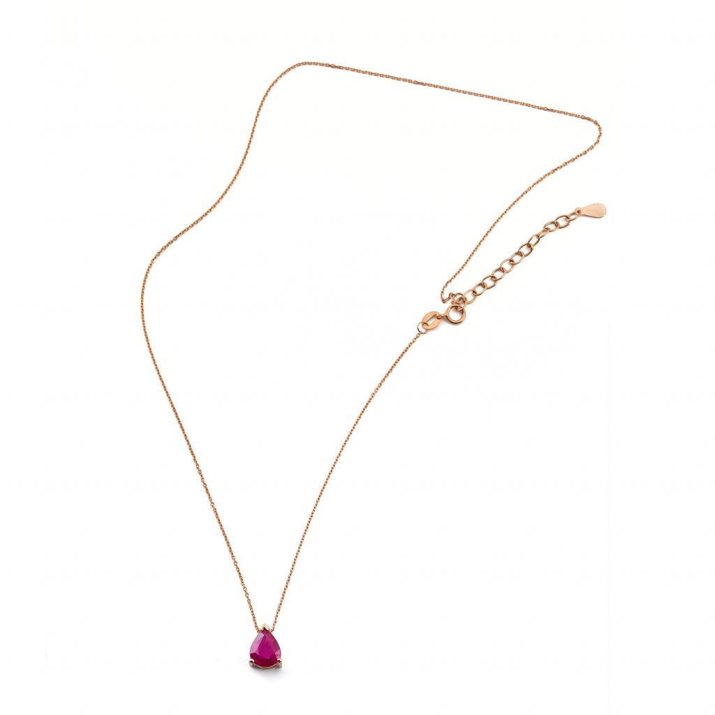 Colgante y cadena de Oro Rosa de 1ª Ley con rubí talla pera.