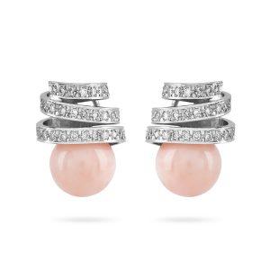Pendientes de Oro Blanco de 1ª Ley compuestos por una espiral de diamantes talla brillante y dos Corales Momo