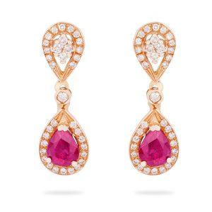 Pendientes de Oro rosa de 1ª Ley compuestos por dos lágrimas invertidas de brillantes y dos rubíes talla pera rodeados de brillantes